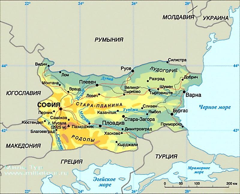 Карта Болгарии на русском