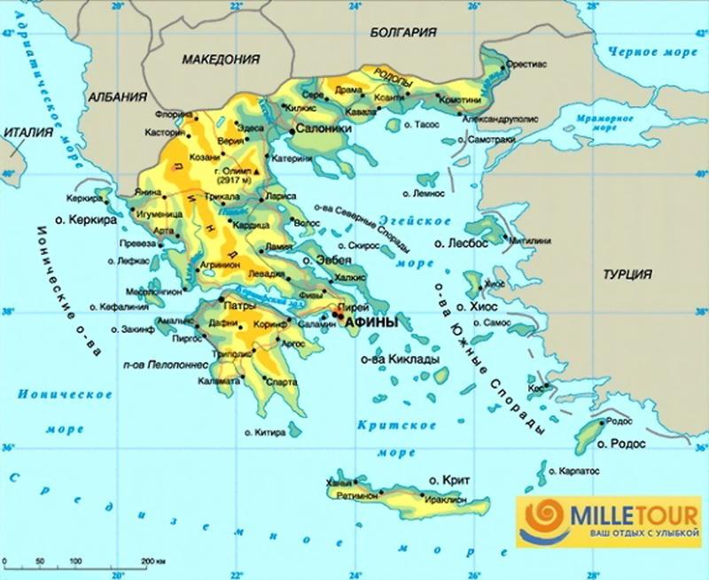 Взгляните на карту Греции на
