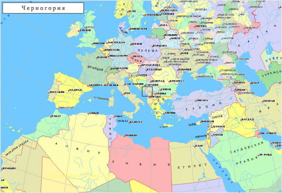 Karta Chernogorii Na Russkom Yazyke S Kurortami I Gorodami Chernogoriya