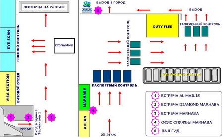 Схема аэропорта в Дубаи ОАЭ