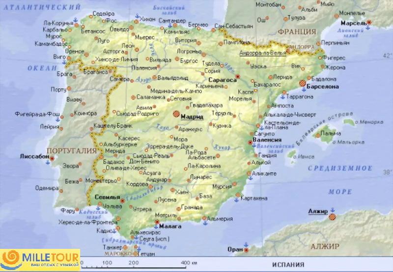 Karta Ispanii S Kurortami I Gorodami Na Russkom Yazyke