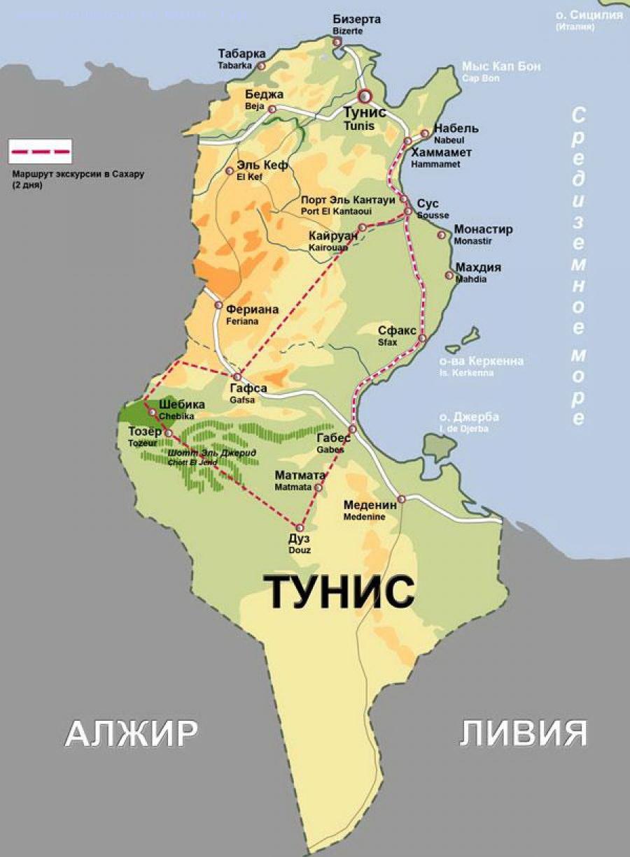 Карта Туниса с курортами и отелями на русском языке. Тунис ...: http://www.milletour.ru/countries/tunisia/map_of_tunisia/