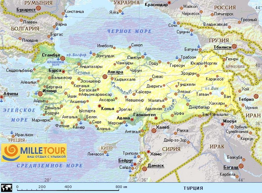 Karta Turcii S Kurortami I Gorodami Na Russkom Yazyke